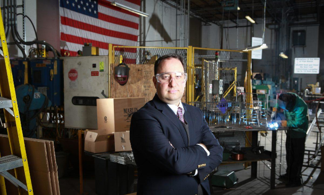 Photo of Drew Greenblatt (President, Marlin Steel) in his factory