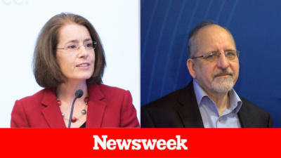 Headshots of Maureen Conway and Mark Popovich, above the Newsweek logo