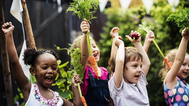 Kids in a vegetable garden