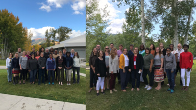 Two photos, side by side, of both cohorts of Job Quality Fellows meeting in Aspen, Colorado.