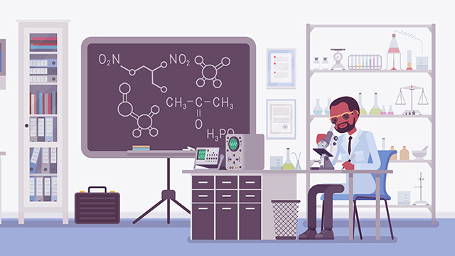 Illustration of Black scientist in white coat