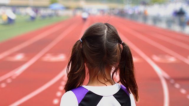 Girl at starting line