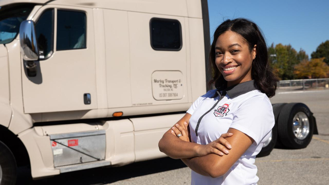 Shavon Marley of Marley Trucking who received a CDFI loan from Carolina Small Business Development Fund. CNote provides funding to Carolina Small Business Development Fund. Source: Marley Trucking