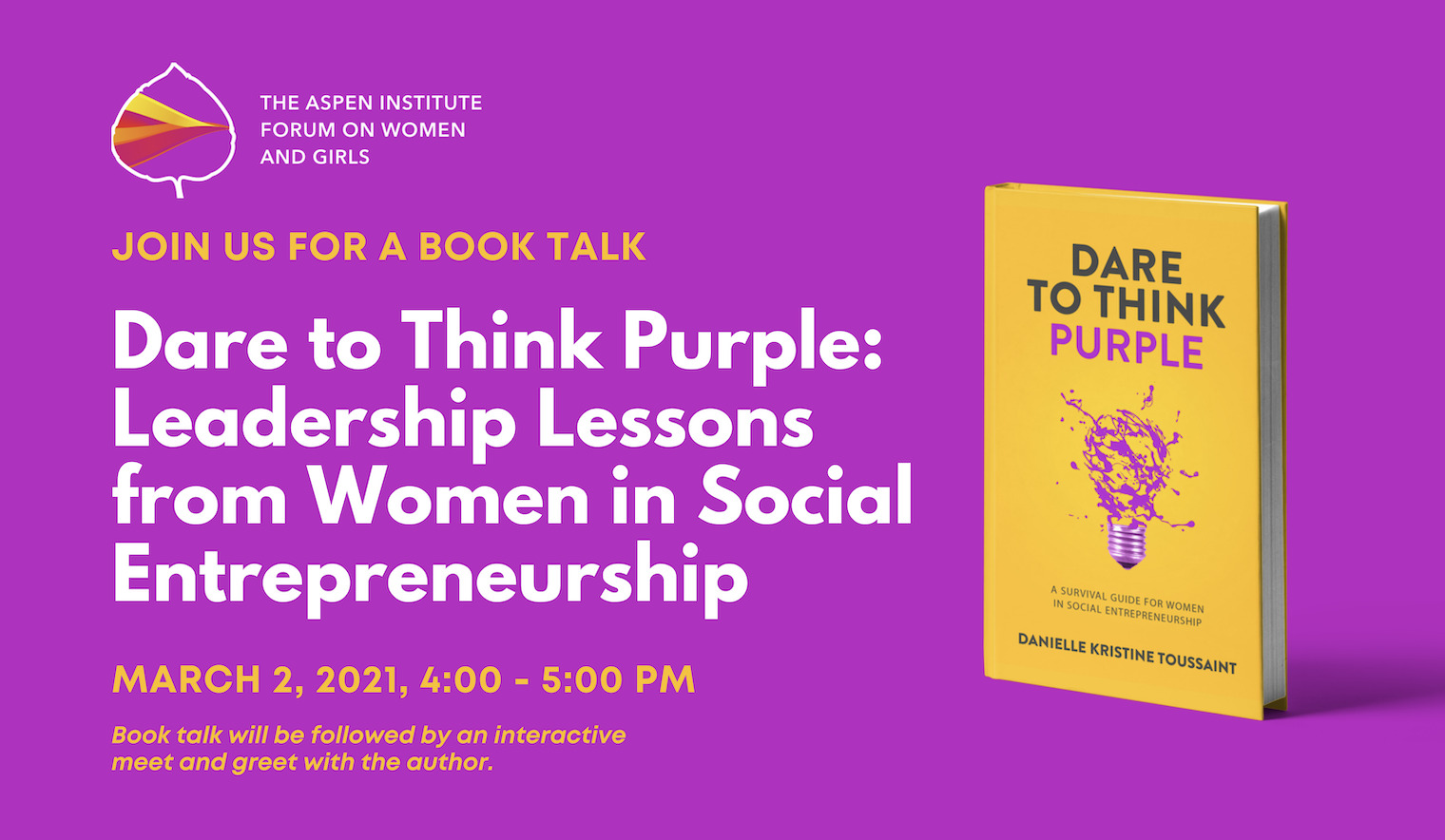 Dare to Think Purple – Leadership Lessons from Women in Social Entrepreneurship Book Talk
