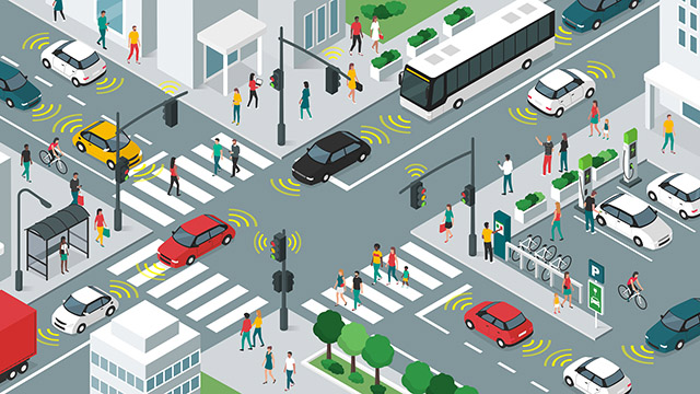 Smart transportation, vehicles, and people in city