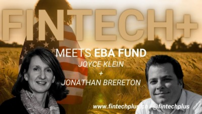 """Promotional image for """"FINTECH+ Meets EBA Fund"""" with headshots of Joyce Klein and Jonathan Brereton"""