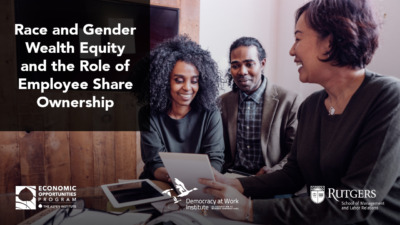 """Foreground: """"Race and Gender Wealth Equity and the Role of Employee Share Ownership."""" Background: Photo of a young Black couple speaking to a financial advisor"""