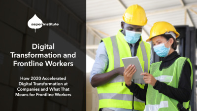 """Foreground: """"Transformation in 2020: How 2020 Accelerated Digital Transformation at Companies and What That Means for Frontline Workers. March 24, 3:00 p.m. ET. #upskilling"""" Background: Photo of two warehouse workers wearing hard hats, reflector vests, and face masks. They are standing in front of a stack of cardboard boxes while looking at an electronic tablet. One is a Black man and the other is an Asian woman."""