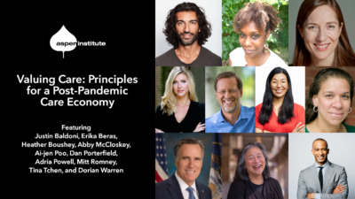 """Photos of featured speakers with details for this event: """"Valuing Care: Principles for a Post-Pandemic Care Economy. April 21, 2:00 p.m. EDT. RSVP at as.pn/care and tweet #talkopportunity. Featuring Justin Baldoni, Erika Beras, Heather Boushey, Abby McCloskey, Ai-jen Poo, Dan Porterfield, Adria Powell, Mitt Romney, Tina Tchen, and Dorian Warren."""""""
