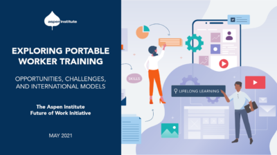 """Promotional graphic for the report, """"Exploring Portable Worker Training: Opportunities, Challenges, and International Models,"""" by the Aspen Institute Future of Work Initiative. The graphic features the title and release date (May 2021), as well as stylized icons representing workers, learning, and technology, including gears, buttons, charts, images, and documents."""
