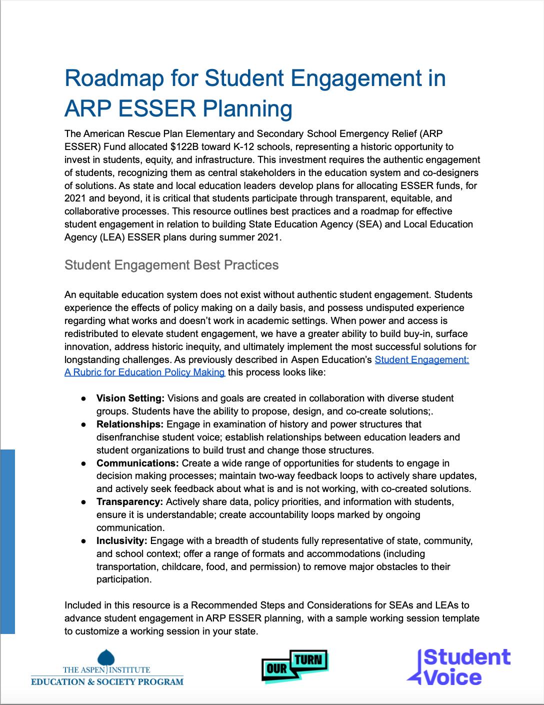 Roadmap for Student Engagement in ARP ESSER Planning