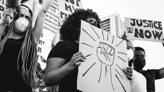 Black women at protest