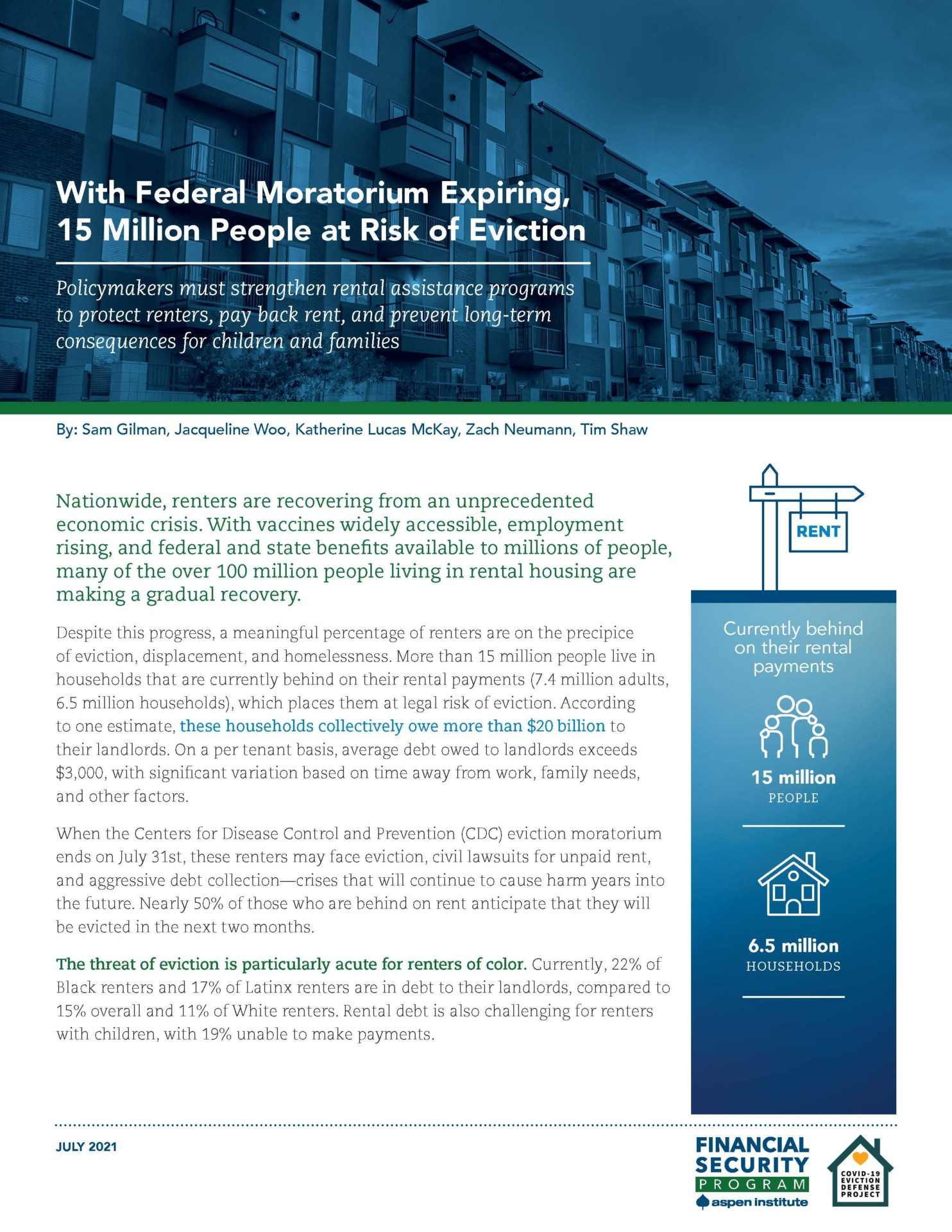 With Federal Moratorium Expiring, 15 Million People at Risk of Eviction