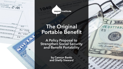 """Promotional image for the brief, """"The Original Portable Benefit: A Policy Proposal to Strengthen Social Security and Benefit Portability,"""" by Camryn Banks and Shelly Steward. The image includes the title and authors. In the background is a photo of a Social Security card, 1040 form, $20 bill, and glasses on a table."""
