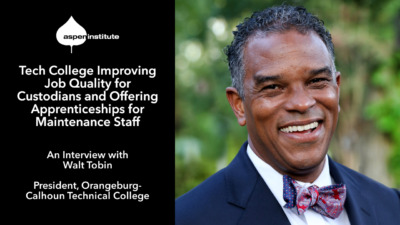 """Promotional image for the blog post, """"Tech College Improving Job Quality for Custodians and Offering Apprenticeships for Maintenance Staff: An Interview with Walt Tobin, President, Orangeburg-Calhoun Technical College"""" featuring a photo of Walt Tobin"""