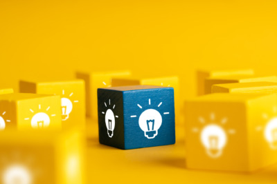 Lightbulb and lamp icon for creative leadership business concept