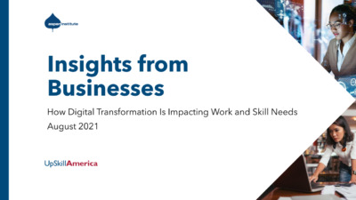 """Cover for the publication, """"Insights from Businesses: How Digital Transformation Is Impacting Work and Skill Needs"""""""