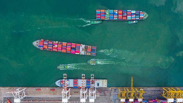 Cargo ship at terminal