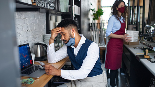 Frustrated coffee shop manager