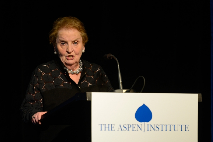 Madeleine Albright addresses attendees