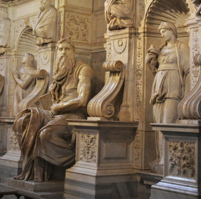 Michelangelo's 'Moses,' San Pietro in Vincoli Basilica in Rome, Italy. The tour, led by the President of Friends of Florence, Contessa Simonetta Brandolini d'Adda, and experts Dr. William Wallace and Dr. William Cook, included a substantive discussion of Michelangelo's contribution to each visited site.