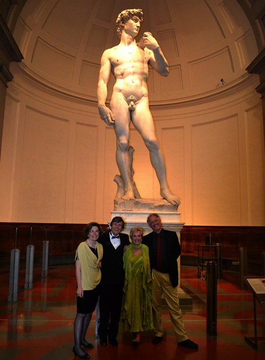 Along with private and rare visits to treasured museums and churches, the group of approximately 25 people enjoyed an intimiate dinner at the foot of Michelangelo's 'David' sculpture.