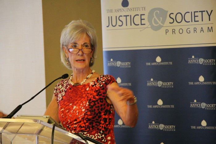 Kathleen Sebelius, former US Secretary of Health and Human Services, gives the keynote address at an ESPHL Leadership Retreat in Washington, DC