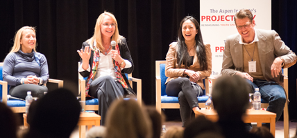 Disabled triathlete Sarah Reinertsen and Olympic stars Nancy Hogshead-Makar, Michelle Kwan and Gary Hall Jr. at Project Play launch summit.