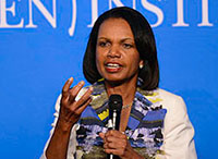 Rice Weighs in on Middle East Issues, American Leadership