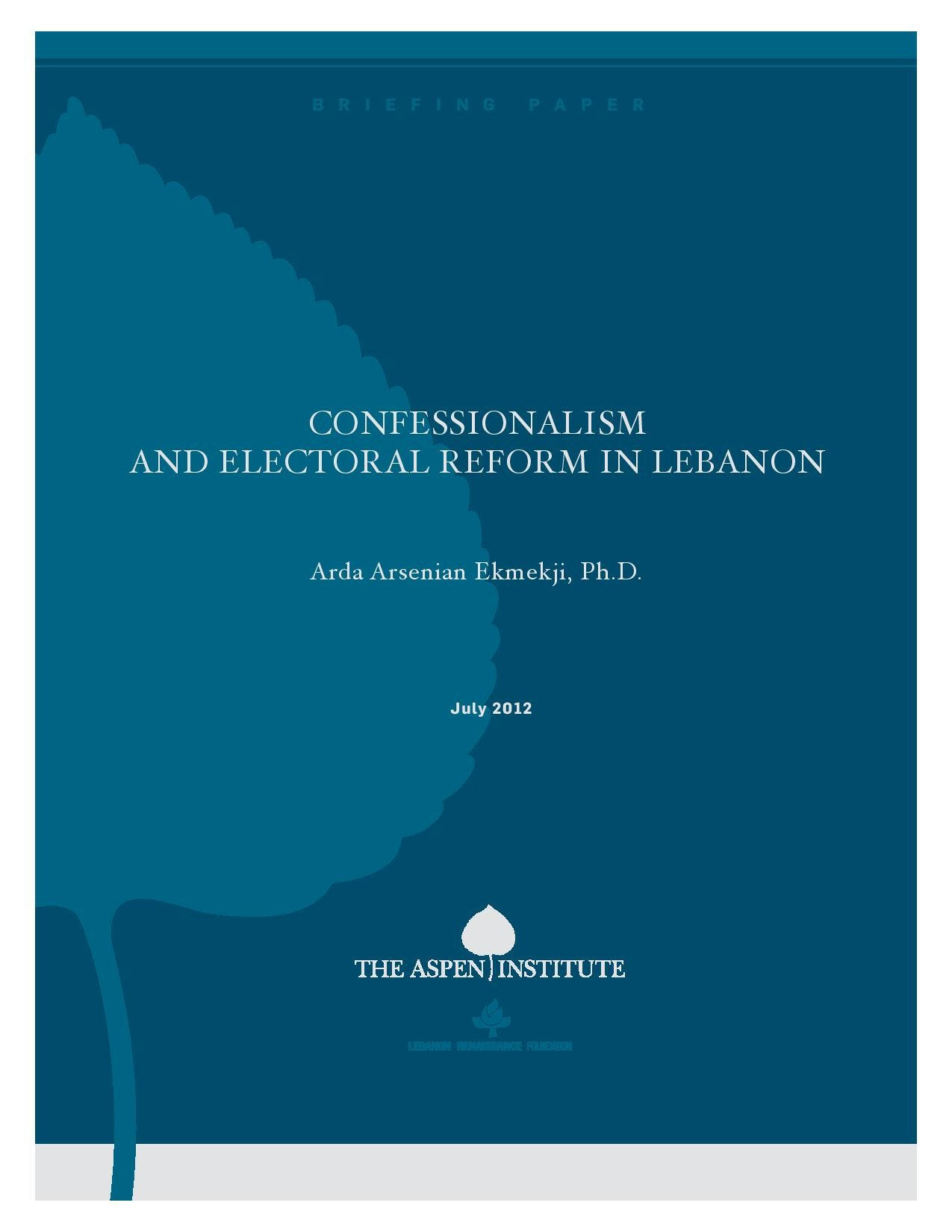 Confessionalism and Electoral Reform in Lebanon