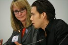 Apolo Ohno and Nancy Hogshead-Makar